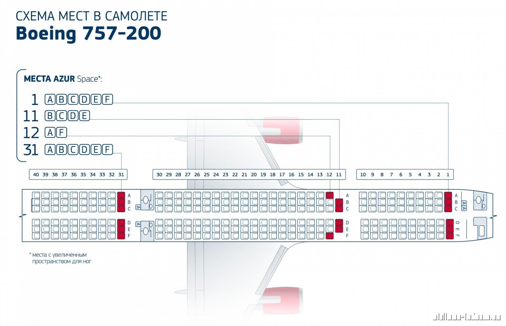 Boeing 767 300 azur air схема