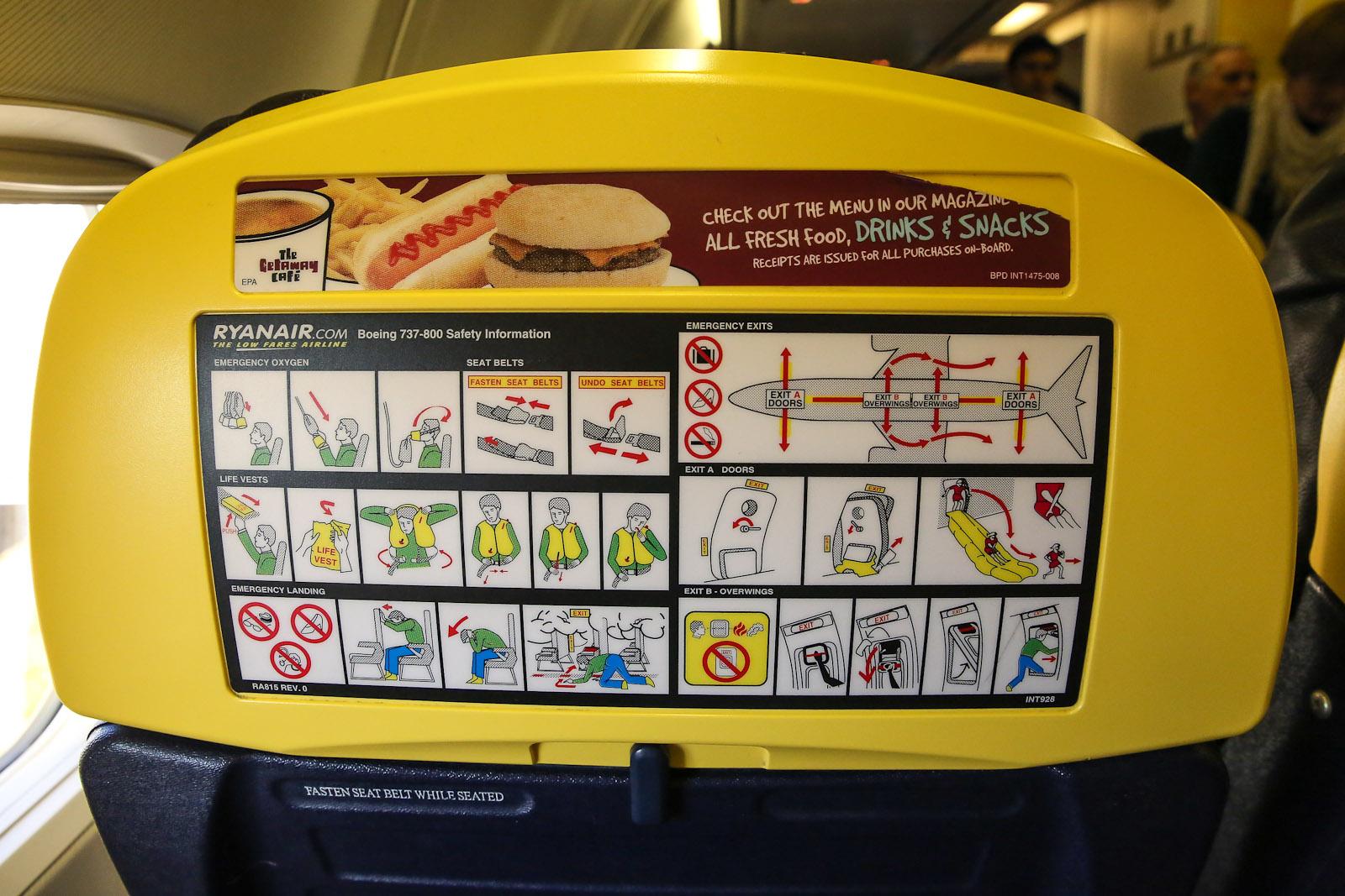 Инструкция по безопасности авиакомпании Ryanair