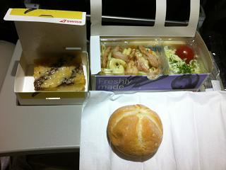 Flight meals on the flight Zurich-Moscow SWISS