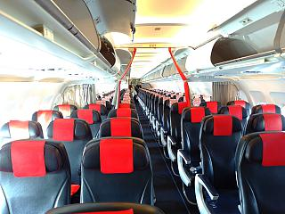 The passenger cabin of the Airbus A319 of Air France