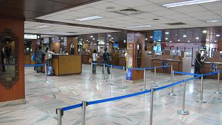 Hall immigration control at the airport Tribhuvan