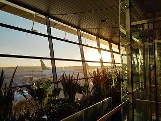 Окна с видом на летное поле в аэропорту Рига