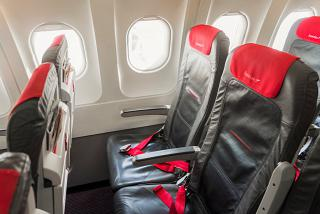 The passenger seats in the Airbus A319 Austrian airlines