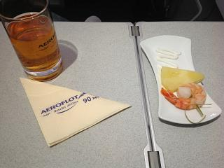 Aperitif in business class on a flight of Aeroflot from Moscow to Khabarovsk