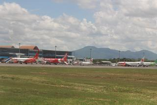 The platform of the airport of Lombok