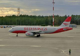The Airbus A320 of the airline Red Wings in the airport of Saint Petersburg Pulkovo