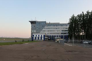 Control tower and Skyline hotel at the station square of Tomsk airport