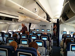 The cabin of premium economy class in the Boeing-767-300 Condor airlines
