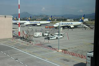 Ryanair planes on the platform of the airport of Milan Bergamo