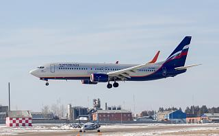 Boeing-737-800 VQ-BWE Aeroflot sits down at the airport of Irkutsk