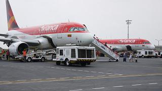 The Avianca aircraft at the airport of Cartagena