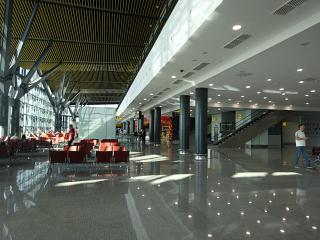 In the clean area of the new terminal 1 of the airport of Astana