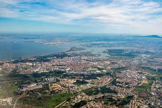 The city of Almada in the vicinity of Lisbon