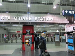 Станция метро в аэропорту Чикаго О'Хара
