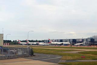 The British Airways planes at London Gatwick airport