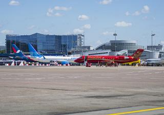 The aircraft at the terminal airport Moscow Vnukovo