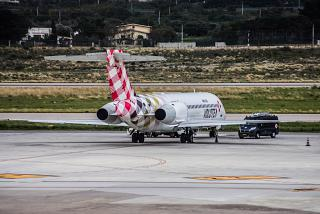 The Boeing 717 of Volotea airlines in the airport of Palermo
