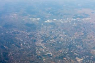 In flight over the city of Krakow