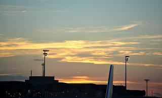 Sunset at the airport of Paris Charles de Gaulle