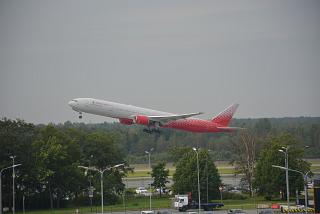 "Boeing-777-300 of the airline ""Russia"" takes off at St Petersburg Pulkovo airport"