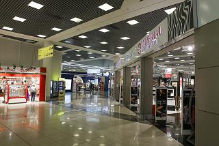 Stores in a clean zone of terminal E of Sheremetyevo airport
