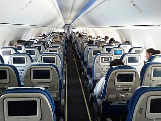 The cabin of the aircraft Boeing-737-900 Korean Air