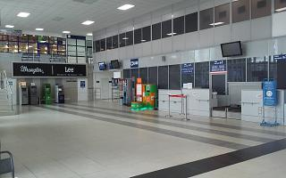 The check-in area in terminal 1 of the airport Arkhangelsk Talagi