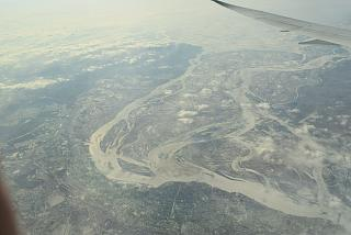 The view from the plane on the city of Khabarovsk
