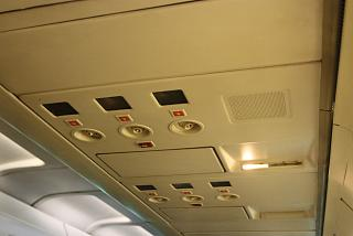 The top panel in the cabin of the Boeing-727-200 airline Iran Aseman Airlines