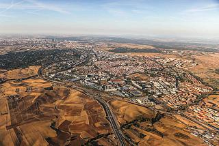 View of the suburbs of Madrid during takeoff from Barajas airport