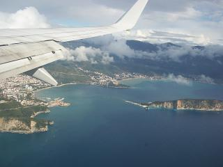 Flying over Budva Bay before landing in Tivat airport
