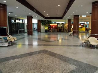 The arrival hall of the airport in Surat Thani in Thailand