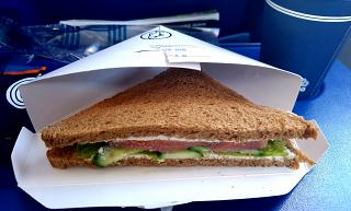 "Sandwich with vegetables and fish on the flight Yuzhno-Sakhalinsk-Khabarovsk airline ""Aurora"""