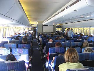 The cabin of the aircraft Boeing-747-300 Transaero