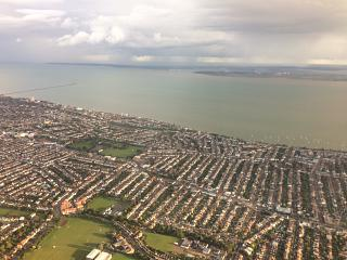 The London suburb of Southend-on-sea and the river Thames