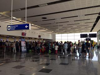 The check-in area for departing flights at the airport Varna