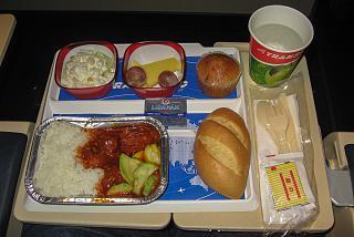Горячее питание на рейсе Трансаэро Гонконг-Москва