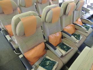 Passenger seats in the Boeing-777-300 Emirates airlines