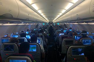 The cabin of the Airbus A321 Turkish airlines