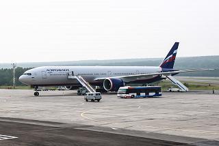 Boeing-777-300 of Aeroflot at the airport of Krasnoyarsk