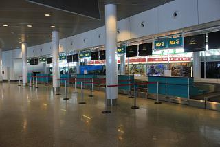 Domestic check-in counters for flights (sector A) of the airport of Astana