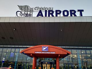 The entrance to the passenger terminal of Chisinau airport