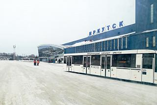 View from the apron to the passenger terminal of Irkutsk airport