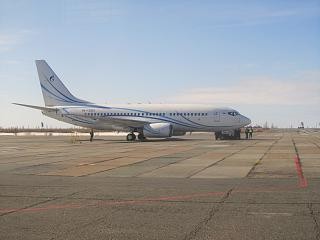 Boeing 737-700 of the airline Gazpromavia at Novy Urengoy airport