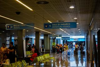 In the passenger terminal of the airport of Salento Brindisi