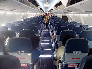 The cabin of the Boeing 737-900ER airline Thai Lion Air