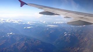In flight over the Caucasus mountains