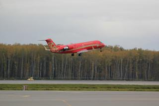 "Take-off Bombardier CRJ-200 aircraft of the airline ""ruslayn"""
