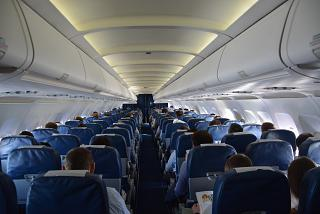 "The passenger compartment in the Airbus A319 VQ-BAS ""Sanicole"" airline ""Russia"""