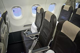 The passenger seats in the plane, an Airbus A320 SWISS